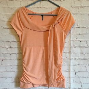MAURICES Size M Orange Ruched Short Sleeve Top